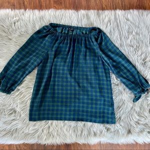 Talbots Off The Shoulder Plaid Blouse Green blue